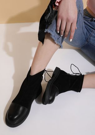 ALL LACED UP BLACK BOOTS