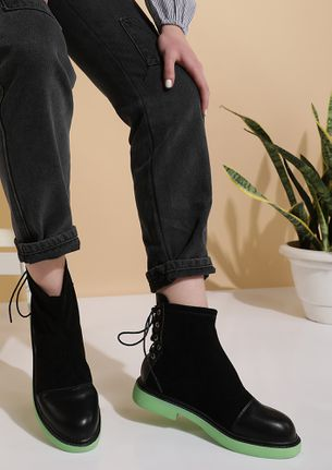 ALL LACED UP GREEN BOOTS