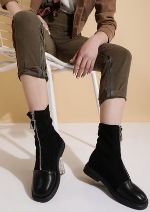 IT UP AND GO BLACK ANKLE BOOTS