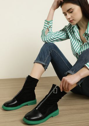 ZIP UP AND GO GREEN ANKLE BOOTS