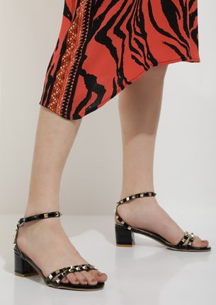 ALL SPIKED UP BLACK HEELED SANDALS