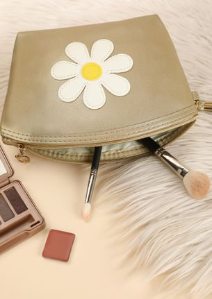 FLOWER PATCHED LOVE GOLDEN MAKE-UP POUCH