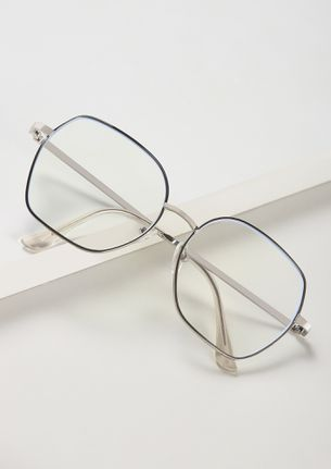 CLEAR AND CALM BLACK AND SILVER SQUARE SUNGLASSES