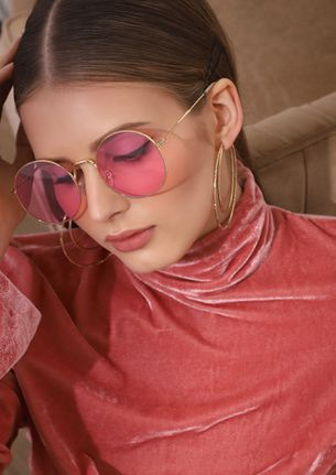 WATCH YOUR TONE PINK ROUND SUNGLASSES