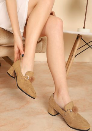 SMASUAL CHIC LIGHT EARTH YELLOW HEELED LOAFERS
