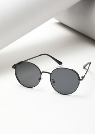 THE RETRO GLAM BLACK ROUND SUNGLASSES