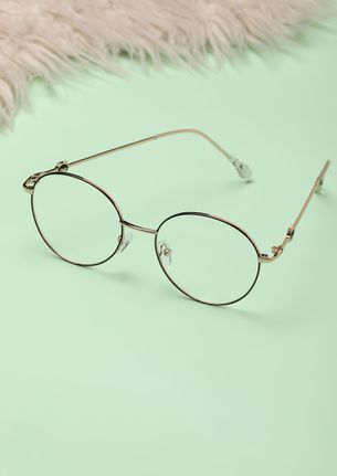 OH-SO LENON-ESQUED GOLDEN RIMLESS ROUND SUNGLASSES