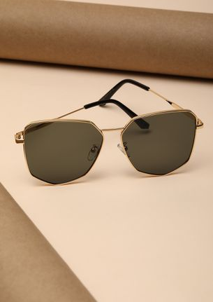 HERE TO STAND OUT OLIVE RETRO SUNGLASSES