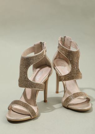 STRAPPING YOUR FANTASY GOLD HEELED SANDALS