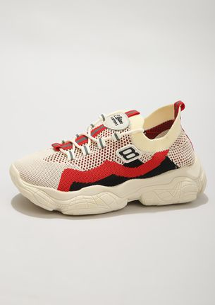 URBAN-LIFE FRIENDLY RED BEIGE TRAINERS