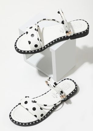 POLKA DOTTED DAZZLE WHITE FLAT SANDALS