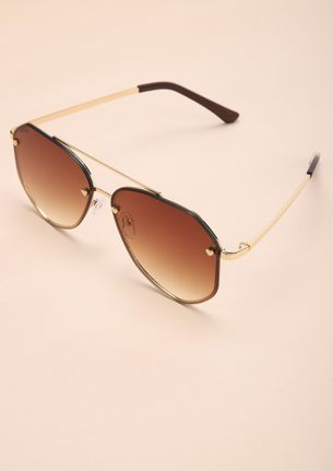 PLAY ALL THE ANGLES GOLD RETRO SUNGLASSES