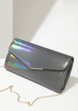 MY SHINY PENNY GREY ENVELOPE SLING