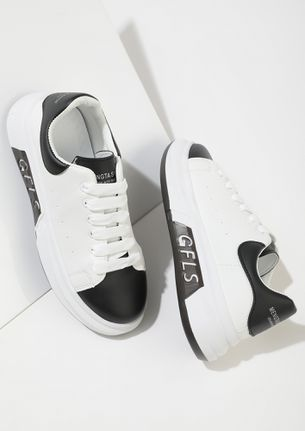 LET'S RUN OFF BLACK WHITE TRAINERS