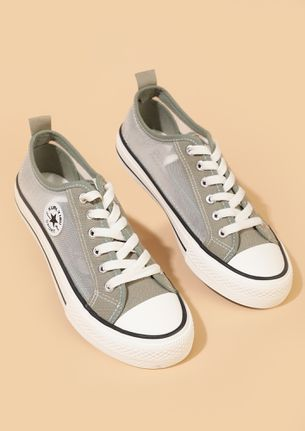 BACK TO SCHOOL GIRLS KHAKI GREEN CONVERSE SNEAKERS