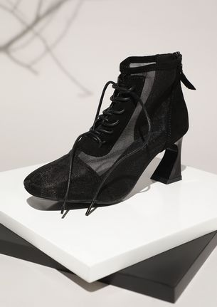 ALL MESHED FOR YOU BLACK ANKLE BOOTS