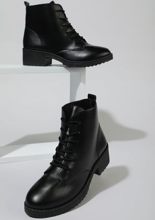 THE DOWNTOWN DIVA BLACK COMBAT BOOTS