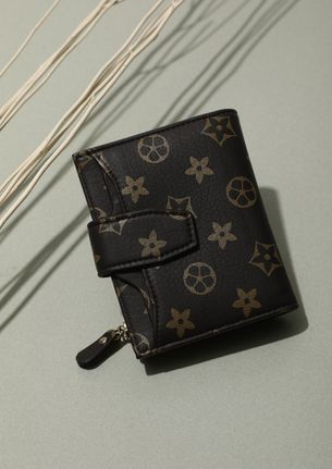 COMPACT AND MIGHTY BROWN PRINTED WALLET