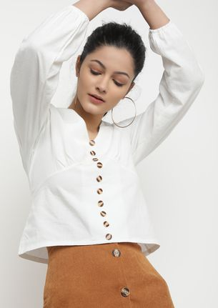 PRETTY FOR EVERYTHING WHITE BLOUSE