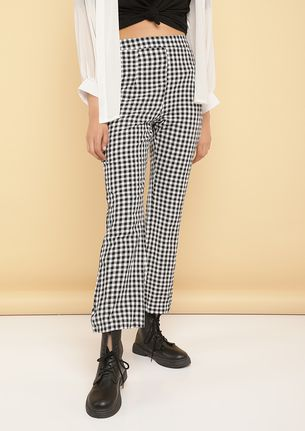 CHECK MATE BLACK AND WHITE TROUSERS
