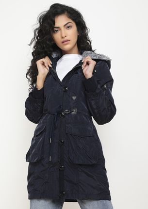 FUR FROM HERE BLUE PARKA JACKET