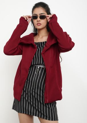 JUST A COSY FEEL WINE RED JACKET