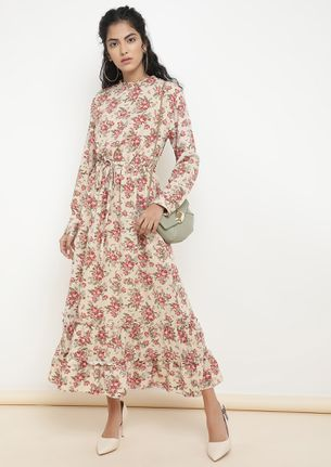 ROSIES AND POSIES OFF-WHITE MAXI DRESS