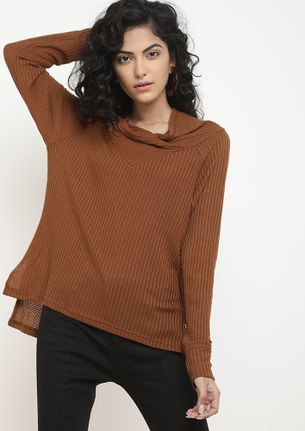 IN THIN AIR TAN KNITTED TOP
