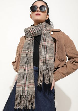 ALL OUT IN COLD GREY BLANKET SCARF
