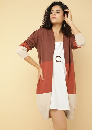 OPEN ENDINGS HICKORY BROWN CARDIGAN