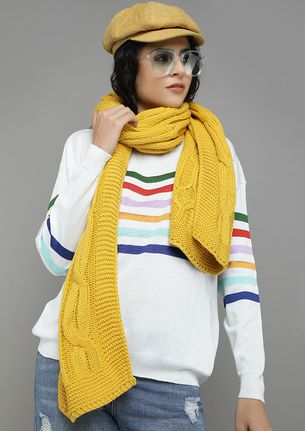 HABIT IS A CABLE YELLOW KNITTED SCARF