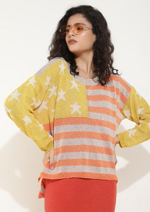 STAR POWERED ORANGE STRIPED JUMPER
