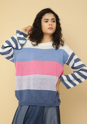 OBSESSED WITH COLORS BLUE STRIPED JUMPER