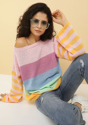 OBSESSED WITH COLORS YELLOW STRIPED JUMPER