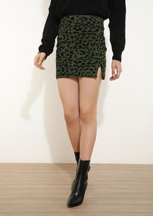 FIERCELY WILD GREEN MINI BODYCON SKIRT