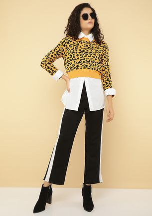 WILD AT HEART YELLOW CROPPED JUMPER