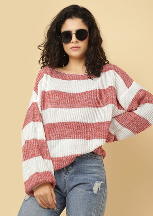 FELT CUTE MIGHT DISAPPEAR RED STRIPED JUMPER