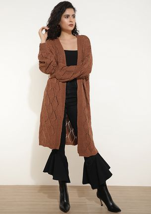 UP THE LADDER BROWN CARDIGAN