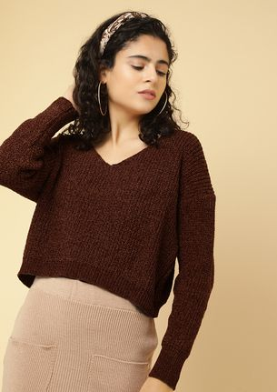 WEATHER RESET O'CLOCK BROWN CROPPED JUMPER