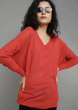 FLYING WITH BATWINGS RED TUNIC TOP