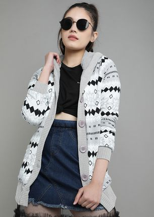 WRAPPING AROUND THE PATTERNS GREY CARDIGAN