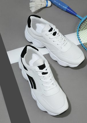ADD SOME CHUNK WHITE BLACK TAPING TRAINERS