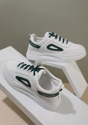 WEAR YOUR CONFIDENCE GREEN PANELS WHITE SNEAKERS