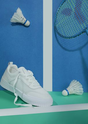 My words follow action white sneakers