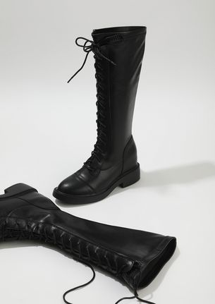 ALL THE WAY UP BLACK KNEE-HIGH BOOTS