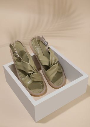 TWIST FOR THE WIN MOSS GREEN FLAT SANDALS