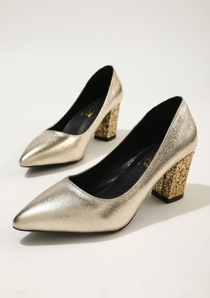 STEP OUT IN SHIMMERING STYLE GOLD PUMPS