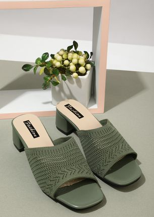 WITH A FEMININE TOUCH GREEN LOW HEELED MULES