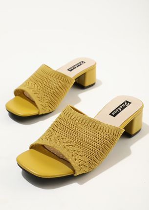 WITH A FEMININE TOUCH YELLOW LOW HEELED MULES