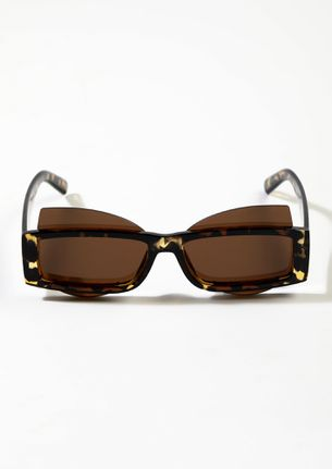 DOUBLE TROUBLE AMBER BROWN SUNGLASSES